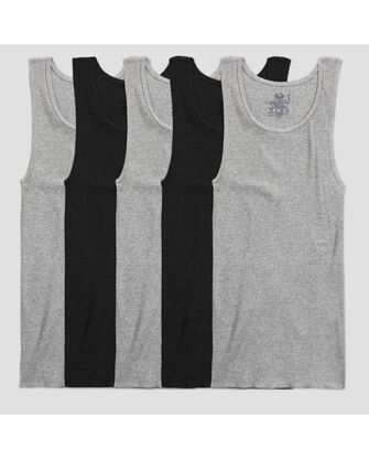 Men's 5 Pack  A-Shirts - Black and Gray