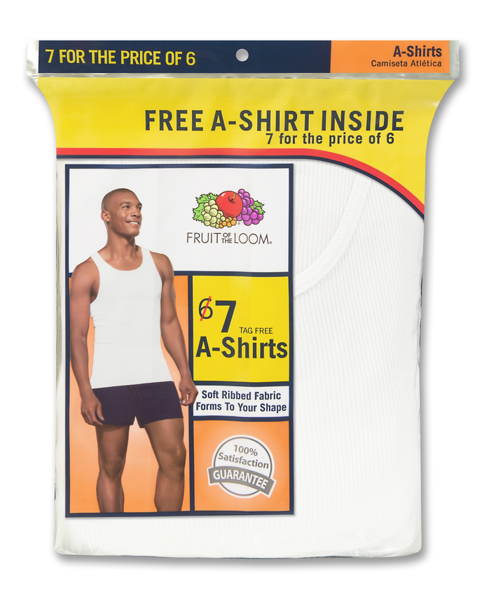 Men's White Tank A-Shirts 6+1Bonus, 7 Pack