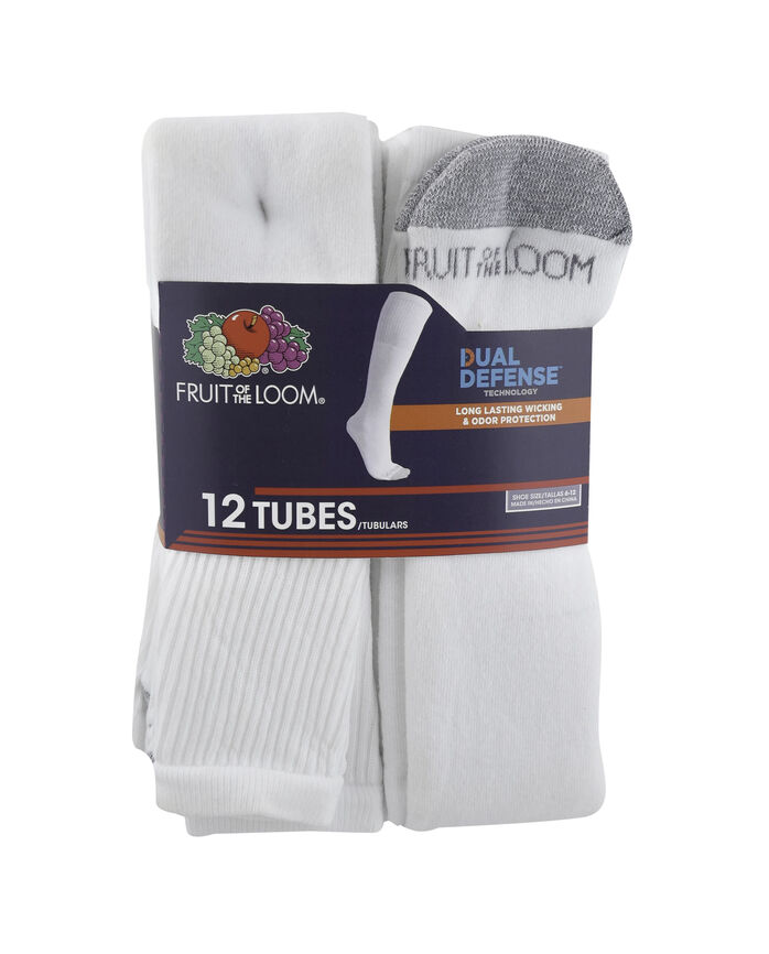 Men's Dual Defense Tube Socks, 12 Pack, Size 6-12 WHITE