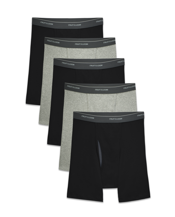 Men's CoolZone Fly Black and Gray Boxer Briefs, 5 Pack
