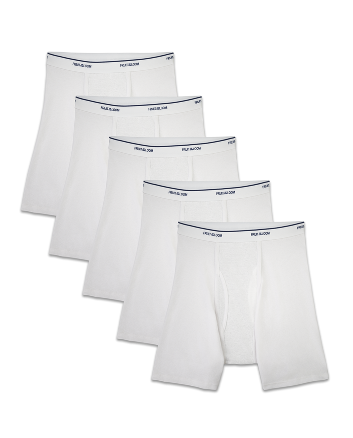 Men's CoolZone Fly White Boxer Briefs, 5 Pack