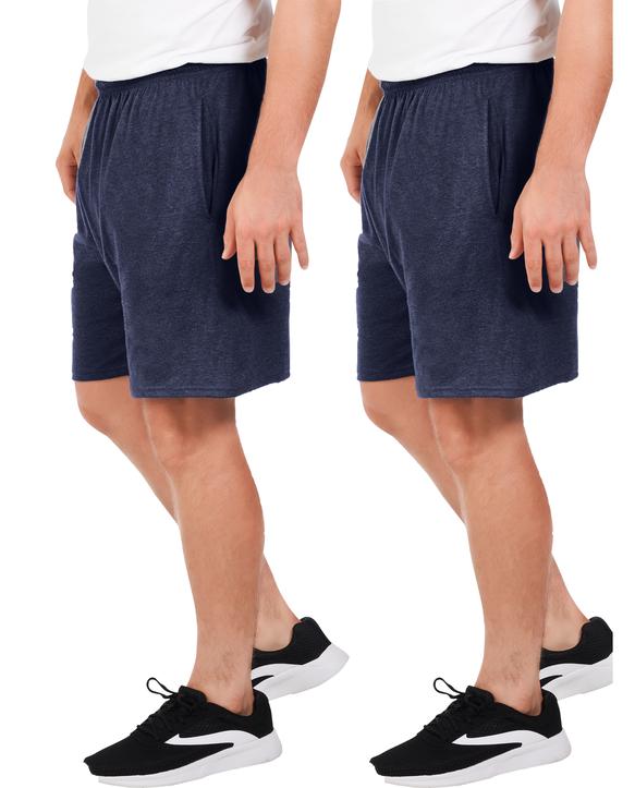 Men's Dual Defense UPF Jersey Shorts, 2 Pack Indigo Ink Heather