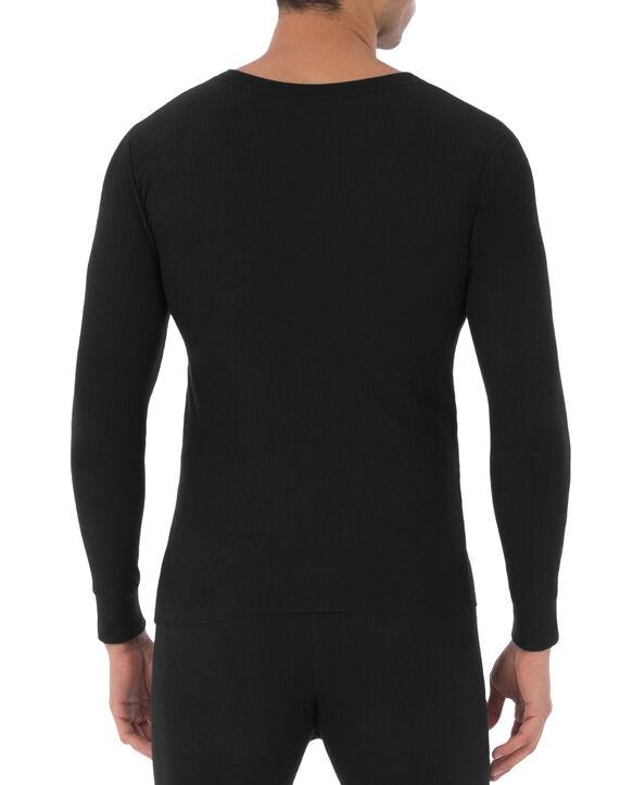 Men's Classic Thermal Henley Top Black
