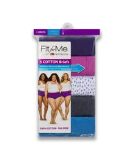 Fit for Me by Fruit of the Loom Comfort Covered Cotton Assorted Briefs, 5 Pack 103