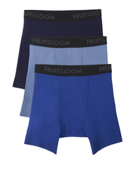Men's Breathable 3 Pack Assorted Color Boxer Brief Extended Sizes Assorted