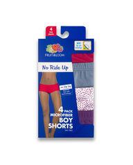 Women's No Ride Up Boy Short, 4 Pack Assorted