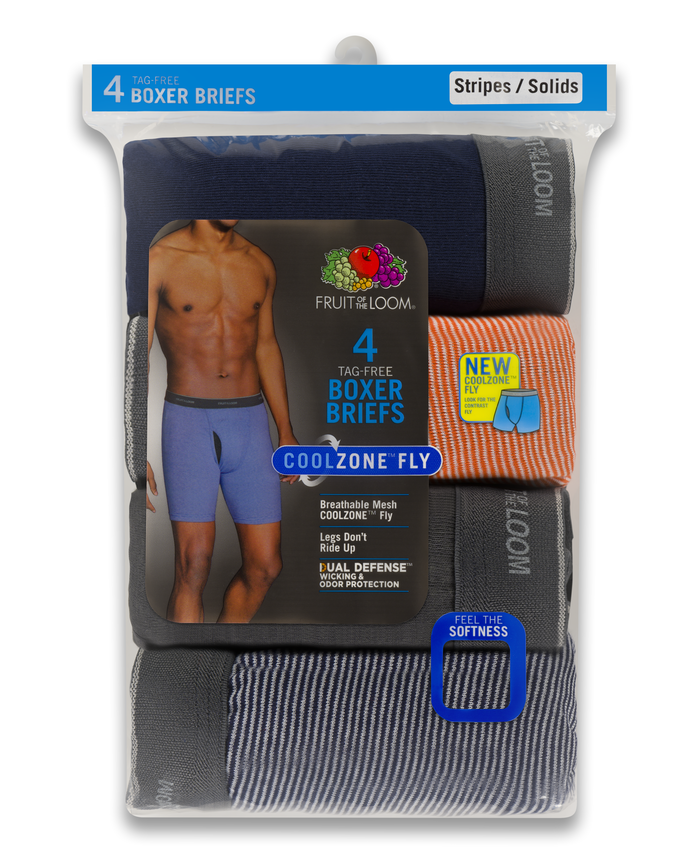 Men's COOLZONE Stripe/Solid Boxer Briefs, 4 Pack, Extended Sizes ASSORTED