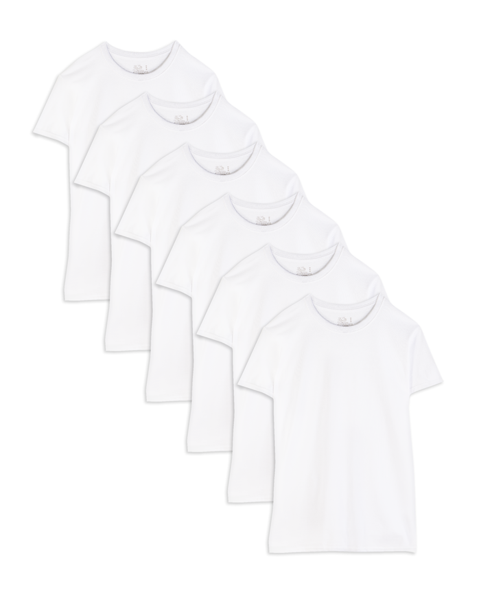 Men's Short Sleeve White Crew T-Shirts, 6 Pack