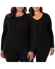 Women's Plus Size Thermal Crew & V-Neck Top, 2 Pack BLACK/BLACK