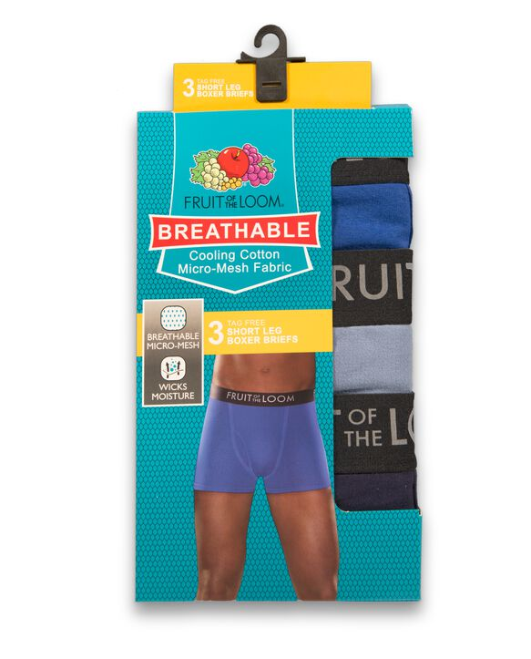Men's Breathable Black and Gray Short Leg Boxer Briefs , 3 Pack, Size 2XL Assorted