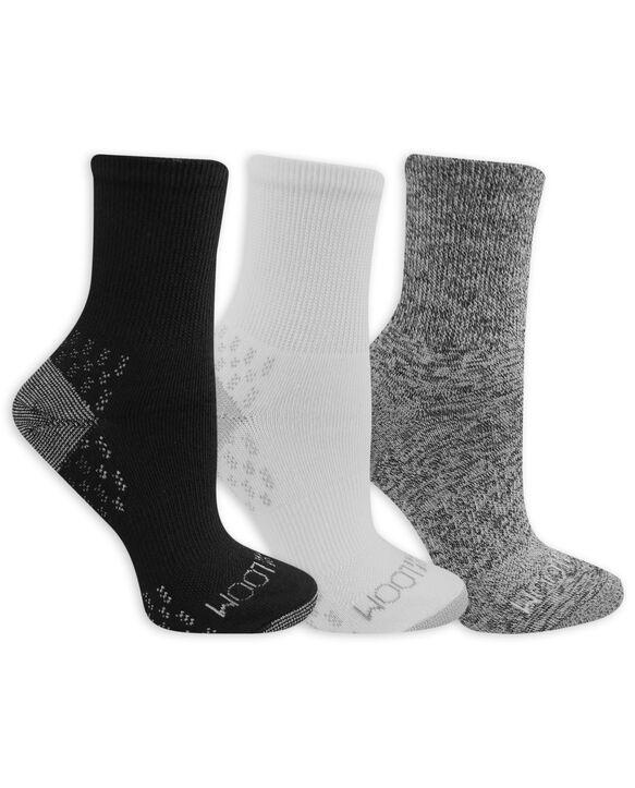 Women's On Her Feet Lightweight Boot Crew Socks, 3 Pack WHITE/GREY, WHITE, BLACK