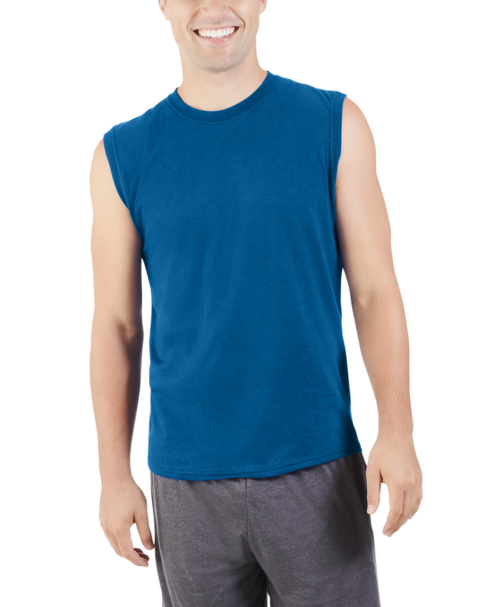 Men's Dual Defense® UPF Muscle Shirt, 1 Pack, Extended Sizes Blue Shadow