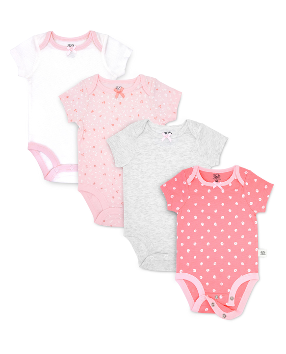 Baby Girls' Short Sleeve Breathable Bodysuits, 4 Pack Pink Multi