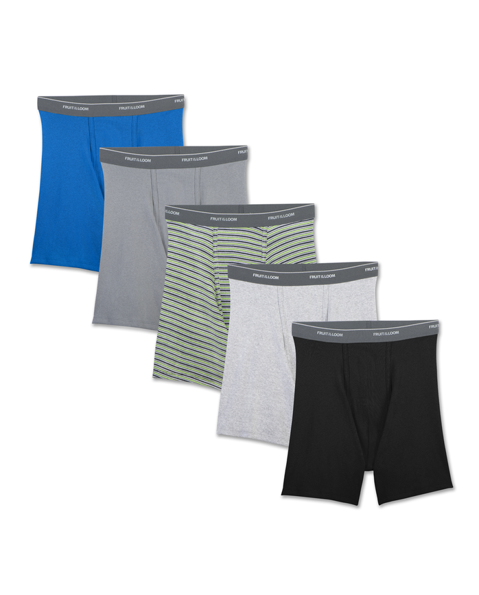 Men's Support Pouch Assorted Dual Defense Boxer Briefs, 5 Pack