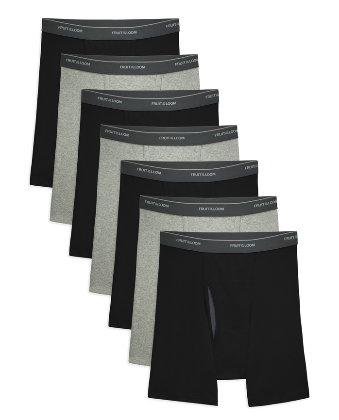 Men's COOLZONE Black/Gray Boxer Briefs, 7 Pack