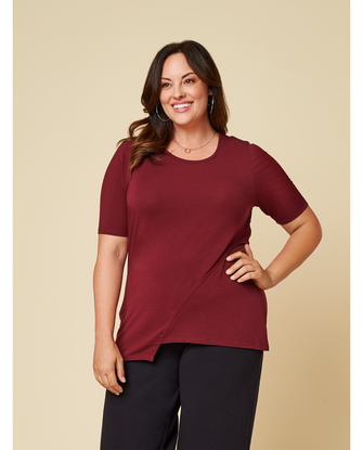 Women's Seek No Further Plus Size ¾ Sleeve Scooped Neck Ruched Top