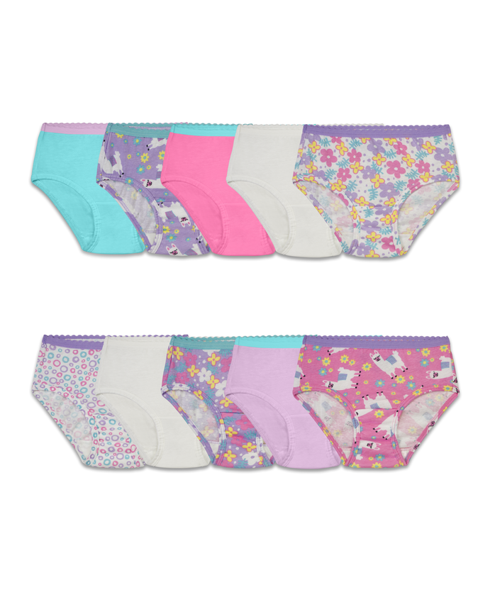 Toddler Girls' 10 Pack Assorted Cotton Brief Underwear