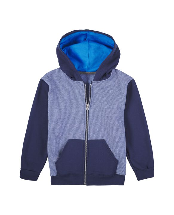 Boys' Fleece Full Zip Hoodie, 1 Pack Blue Stripe