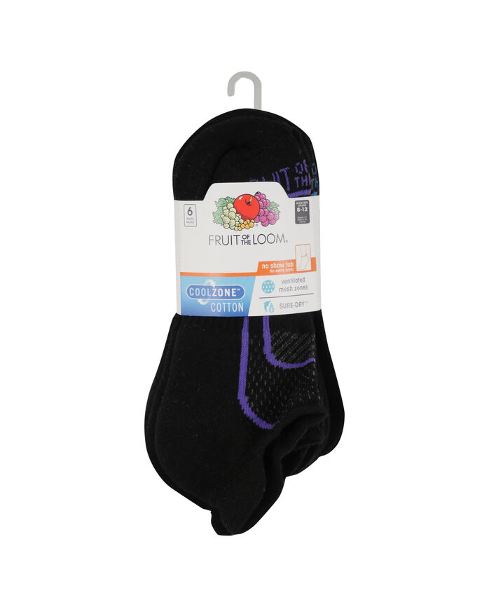 Women's CoolZone Cushioned Cotton No Show Tab Socks, 6 Pack BLACK/PURPLE, BLACK/GREY, BLACK/BLUE, BLACK/SALMON, BLACK/PINK, BLACK/LAVENDAR