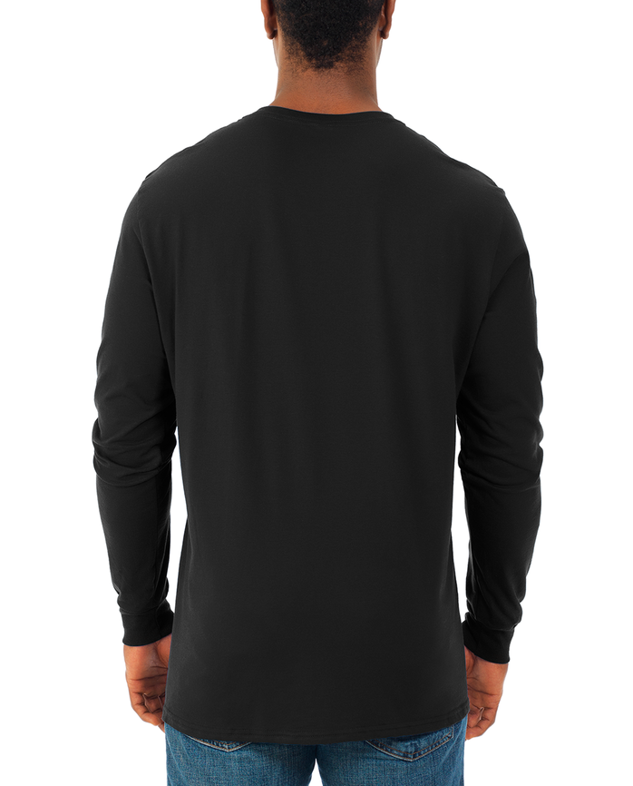 Soft Long Sleeve Crew Neck T-Shirt, 2 Pack Black