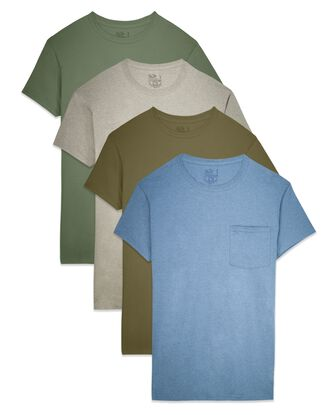 Men's Short Sleeve Assorted Pocket T-Shirts, Extended Sizes, 4 Pack