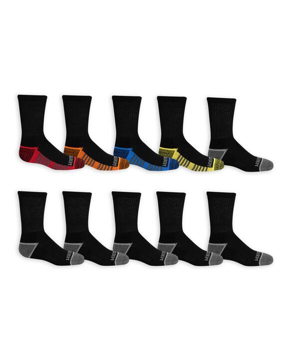 Boys' Cushioned Crew Socks, 10 Pack JET BLACK/HIGH RISK RED,JET BLACK/LEMONCH, JET BLACK/VIBRANT ORANGE, JET BLACK/B50, JET BLACK/DIRECTOR BLUE, JET BLACK/B50, JET BLACK/B50, JET BLACK/B