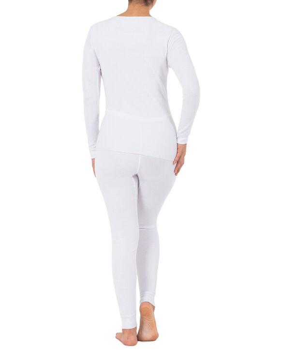 Women's Thermal Crew Top & Bottom Set White