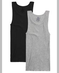 Big Men's Black/Gray A-Shirts, 2XL, 2 Pack Black Grey