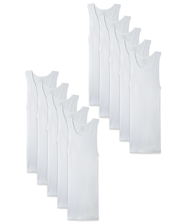 Men's Cotton White A-Shirts, 10 Pack