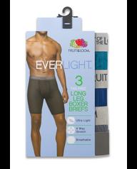 Men's EverLight Assorted Long Leg Boxer Briefs, 3 Pack Assorted