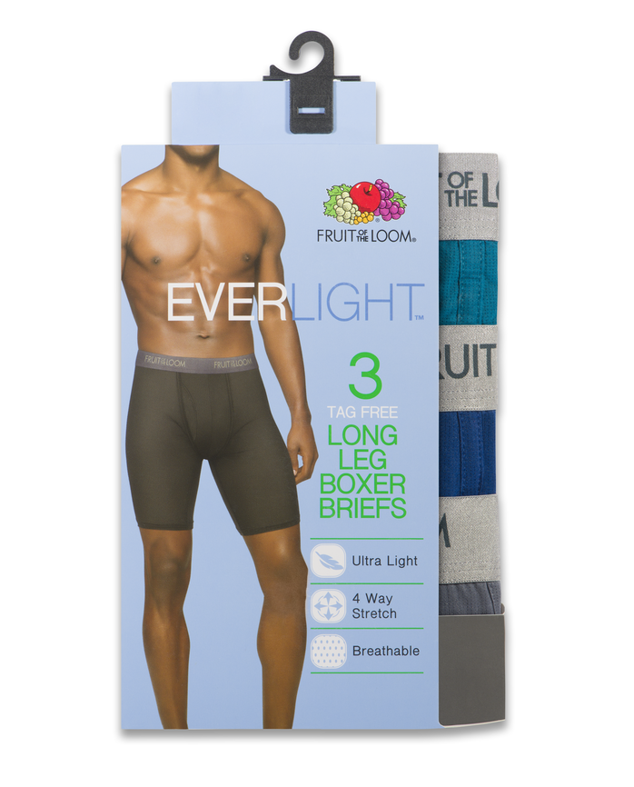 Men's EverLight Assorted Long Leg Boxer Briefs, 3 Pack, Extended Sizes Assorted