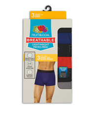 Men's 3 Pack Breathable Lightweight Micro Mesh Short Leg Boxer Brief Assorted