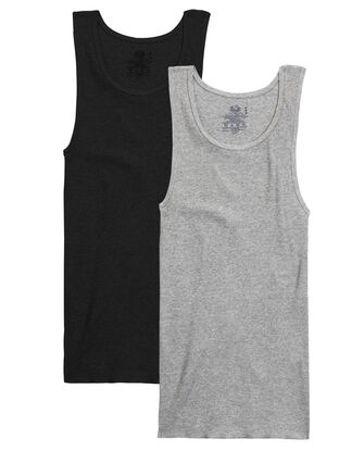 Men's Black/Gray A-Shirts, 2 Pack