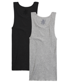 Men's Black/Gray A-Shirts, 2 Pack, Size 2XL Black Grey