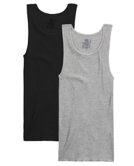 Men's Black/Gray A-Shirts, 2 Pack, Size 2XL Black Grey
