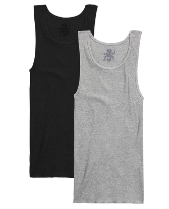 Men's Black/Gray A-Shirts, 2 Pack, Size 2XL