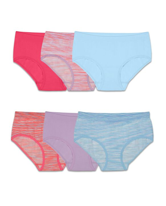 Girls' Seamless Brief, 6 Pack ASSORTED