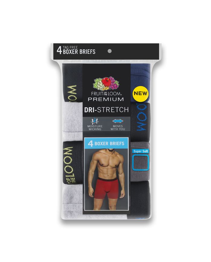 Fruit of the Loom Premium Dri-Stretch Men's Boxer Briefs, 4 Pack - Black/Gray