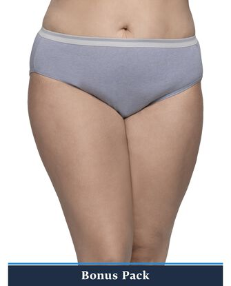 Women's Plus Assorted Heather Cotton Hi-Cut Panty, 8 Pack