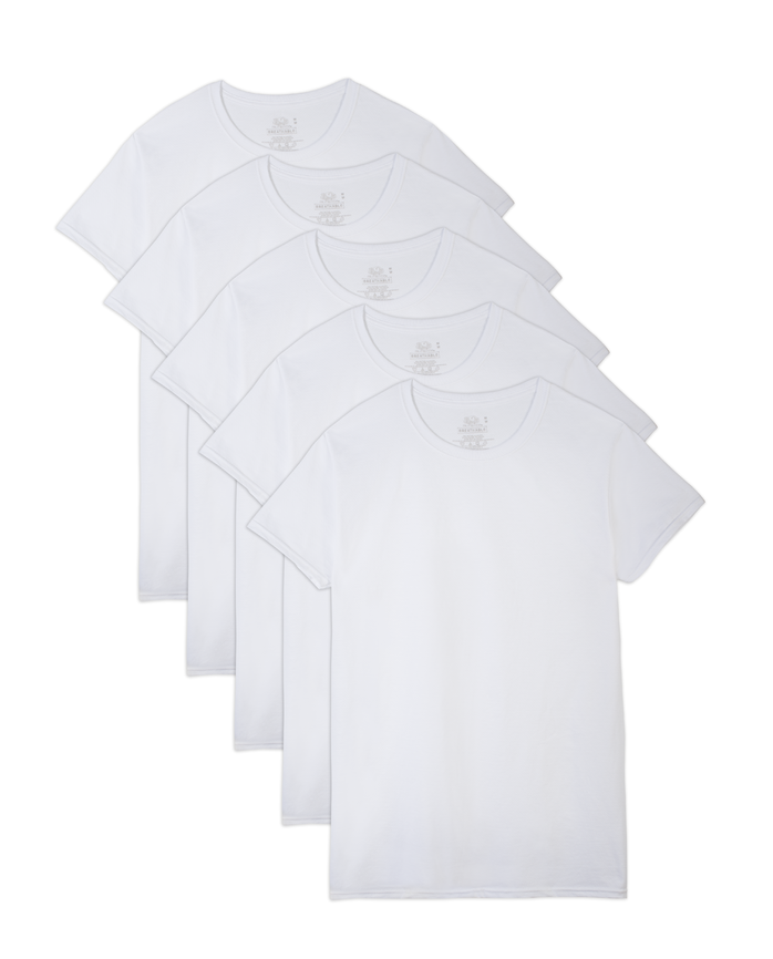 Men's Breathable Cooling Cotton Mesh White Crew T-Shirts, 5 Pack