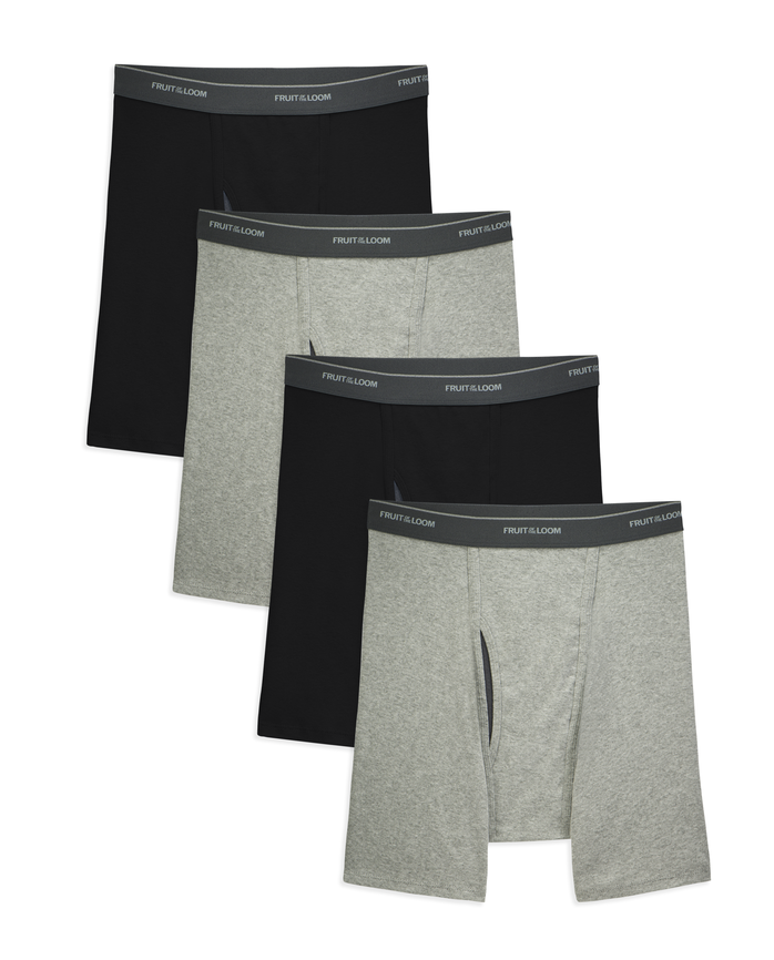Men's COOLZONE Black/Gray Boxer Briefs, Extended Sizes, 4 Pack