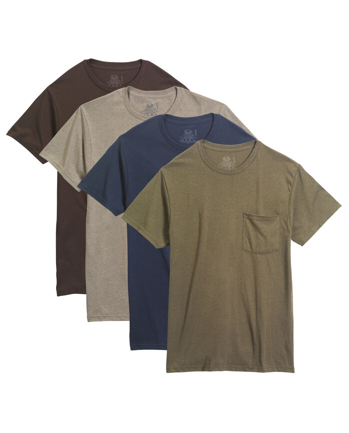 Men's 4 Pack Assorted Pocket T-Shirt