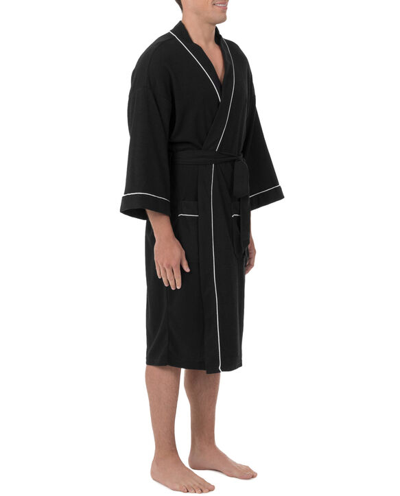 Men's Soft Touch Waffle Robe, 1 Pack, Size 2XL BLACK