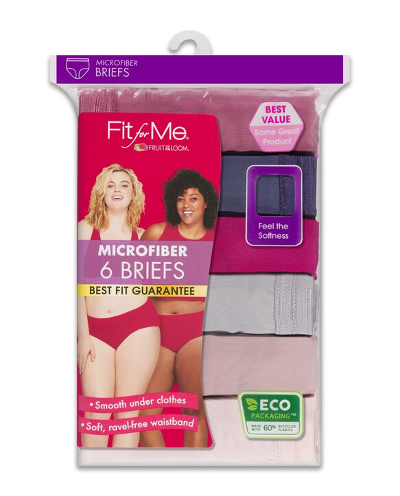 Women's Plus size Fit for Me Microfiber Assorted Brief Underwear, 6 Pack ASSORTED
