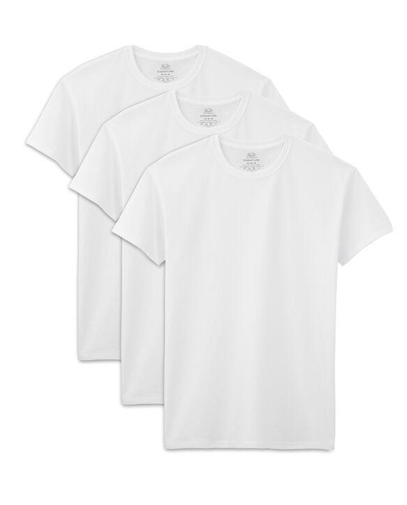 Men's Short Sleeve White Crew T-Shirts, 3 Pack White