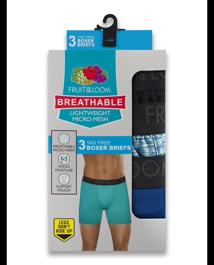 7e9d7d269469d3 Men's Breathable Lightweight Micro-Mesh Print/Solid Boxer Briefs, 3 Pack  ASSORTED