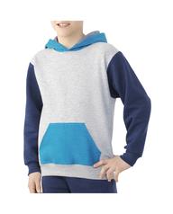 Boys' Fleece Hoodie Sweatshirt, 1 Pack Athletic Heather and Blue