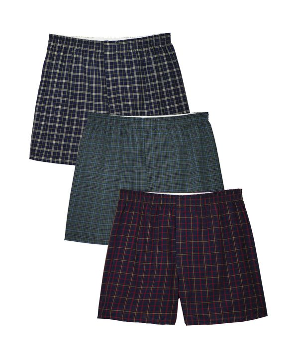 Men's Assorted Boxer Basic Fit Woven, 3 Pack, Extended Sizes Assorted