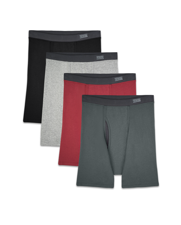 Men's CoolZone Fly Covered Waistband Boxer Briefs, Extended Sizes, 4 Pack