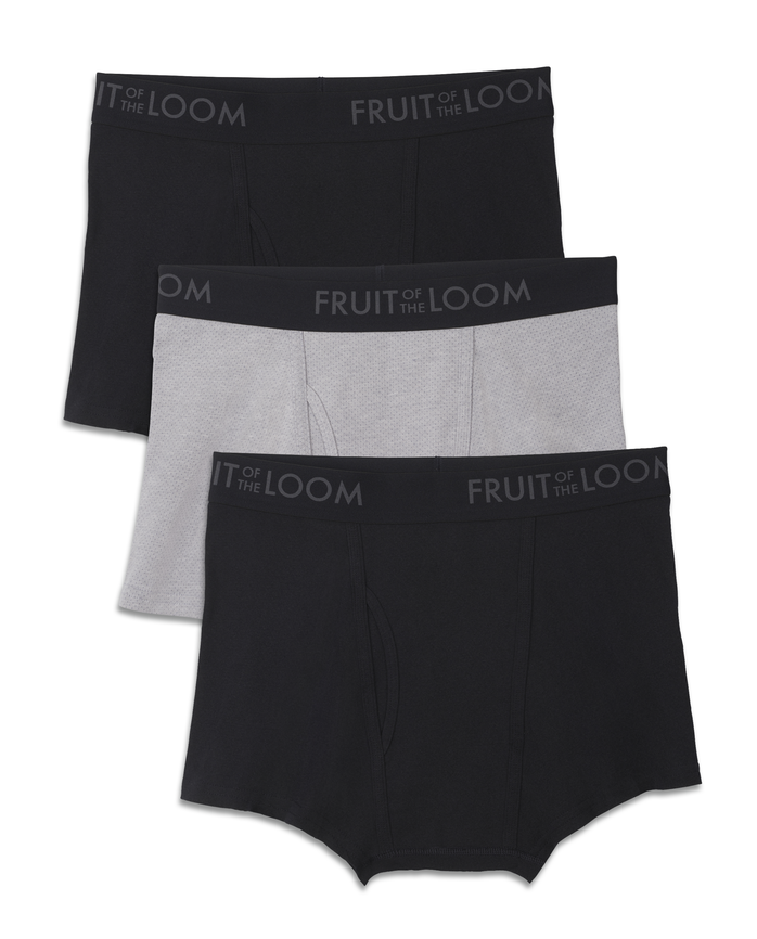 Men's Breathable Black/Gray Short Leg Boxer Briefs , 3 Pack, Size 2XL
